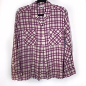 CAbi Plaid Buttoned Down Corset Lace Up Shirt